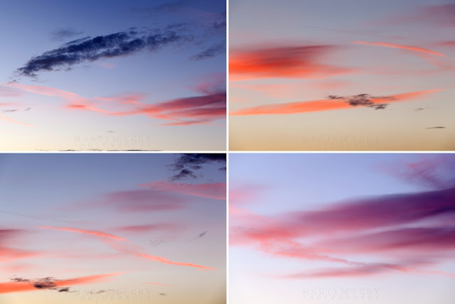 Colourful clouds at sunset in this montage of images from the Cambridgeshire Fens