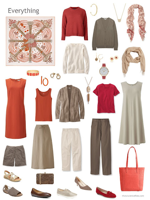 a travel capsule wardrobe in brown, beige, orange and red