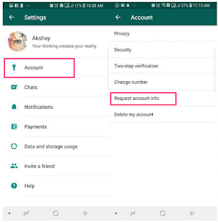 Cara Download Informasi atau Data Akun WhatsApp