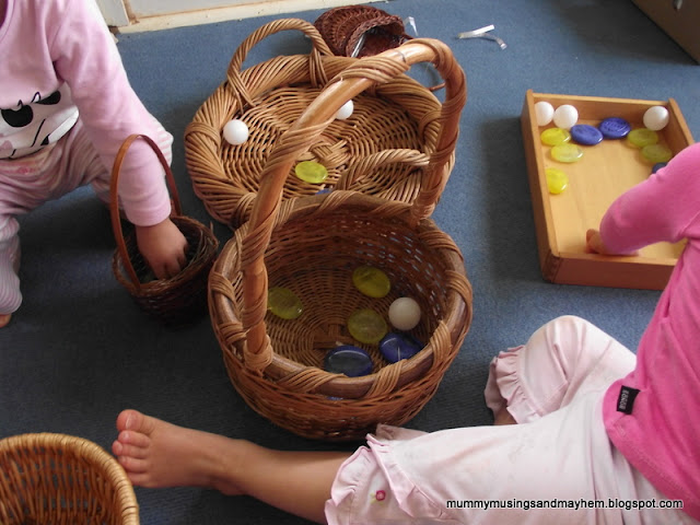 Toddler Fine Motor Fun with pebbles & baskets