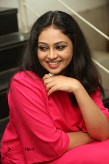 Actress Arundathi Nair Stills in Red Chididar at Bethaludu Success Meet  0091.JPG