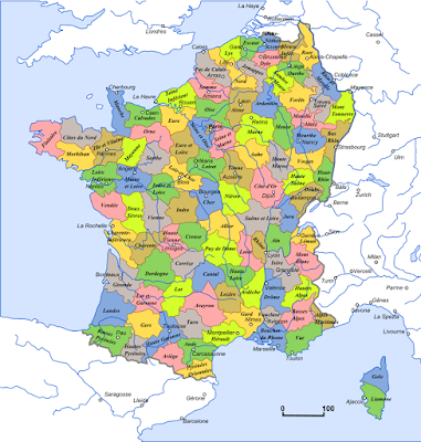 Subdivisions territoriales de la Première République Française. Le territoire des actuelles provinces wallonnes et du Grand-Duché de Luxembourg correspond au département « des Forêts » (source Wikipédia)
