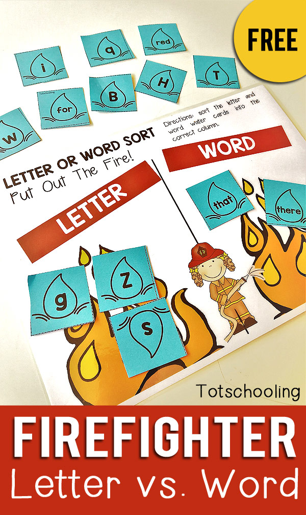 FREE fire fighter themed printable sorting activity for kindergarten kids to sort between letters and words. Great for letter recognition and sight words. Can be used for a fire safety theme or community helpers.