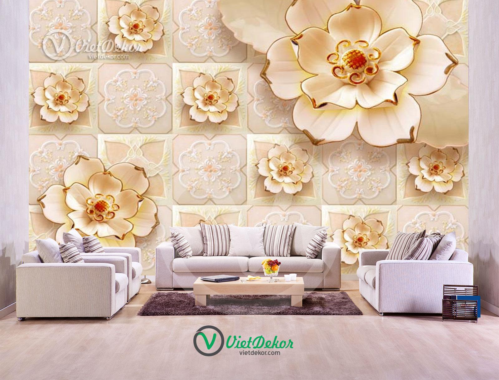 Tranh dán tường 3d hoa trang trí phòng ngủ