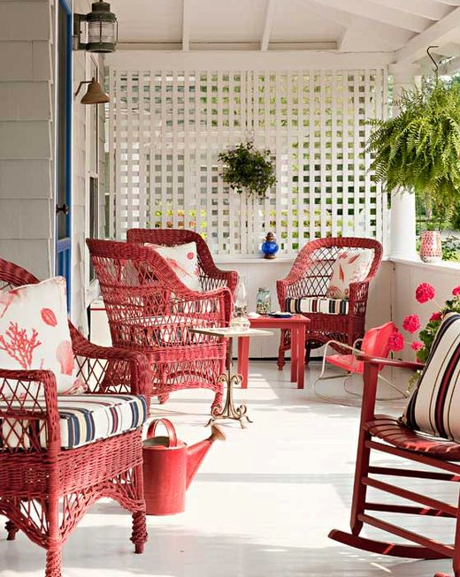 Red Wicker Chairs