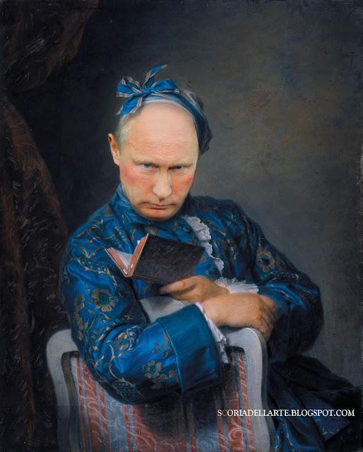 Fotomontaggi di politici in dipinti classici. Ritratto di Vladimir Putin