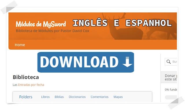 2 Sites baixar Módulos MySword Inglês e Espanhol