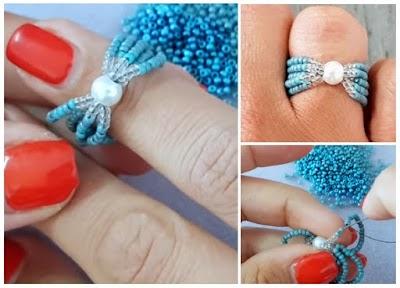 Cómo hacer Anillos aros de mostacillas y perla central