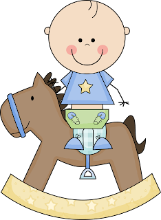 bebé en caballito de madera para baby shower