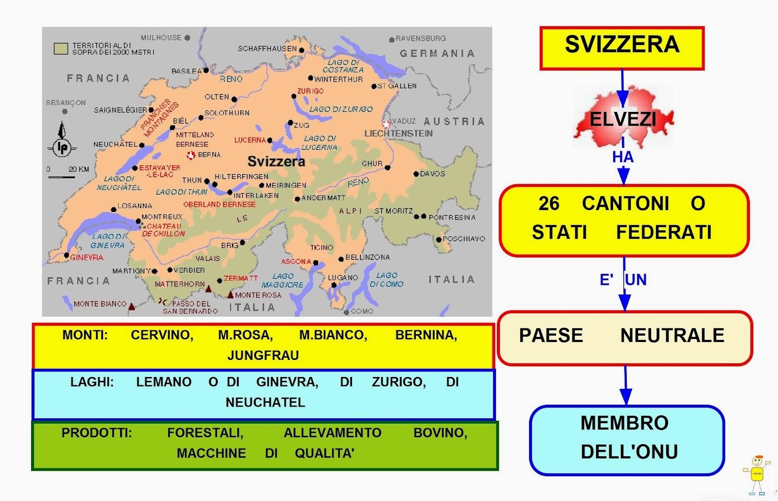La Svizzera Cartina.Mappa Concettuale Svizzera Scuolissima Com