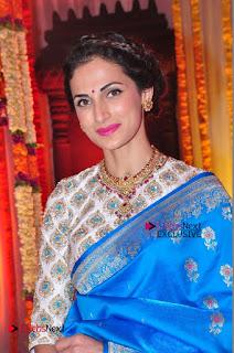 Actress Model Shilpa Reddy Exclusive Stills in Blue Saree at Vijay Karan Aashna Wedding  0038.JPG