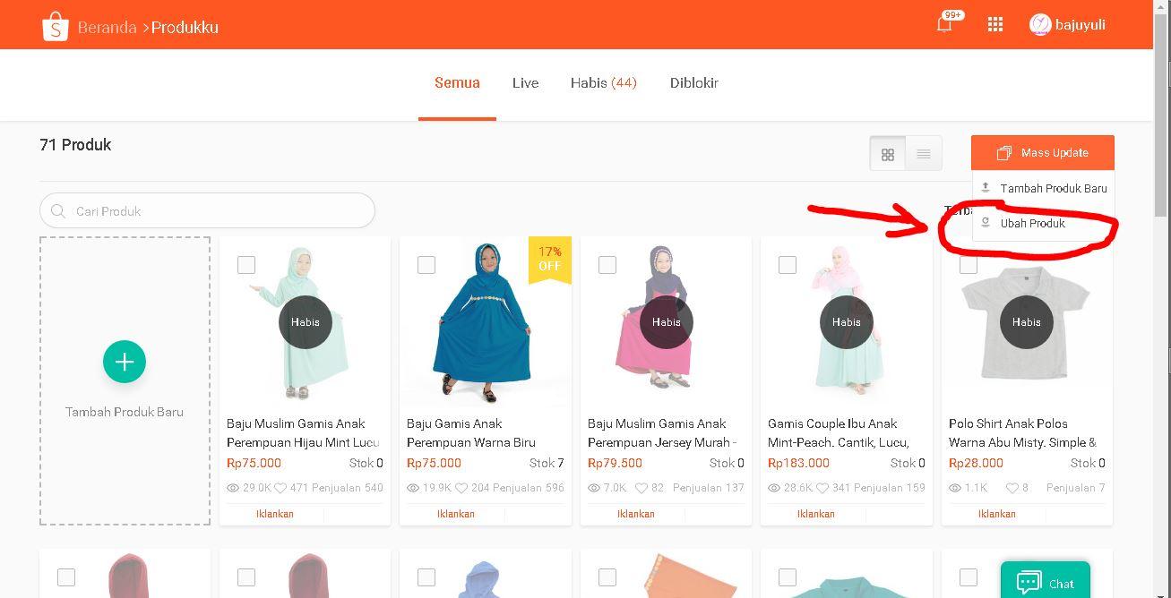 Ubah produk di Shopee