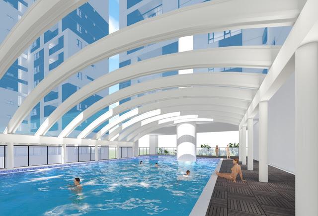 Bể bơi bốn mùa bên trong dự án Phú Mỹ Complex