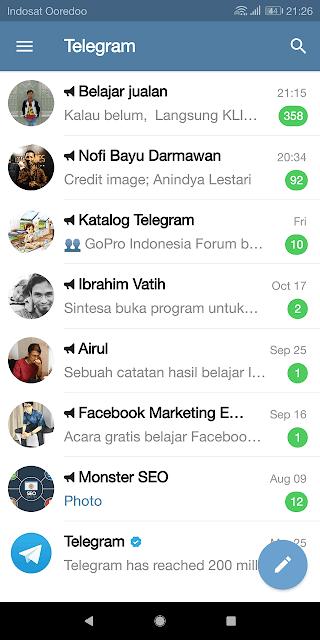 akun telegram telah berhasil dibuat