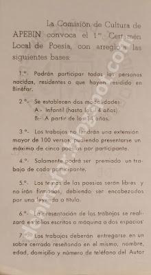 1er Certamen Local de Poesía - Binéfar