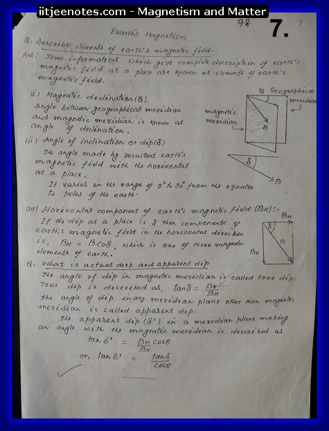 magnetism and matter notes physics class 12
