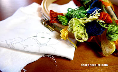 Catherine Laurencon Capucines (Inspirations): getting ready to embroider some nasturtiums