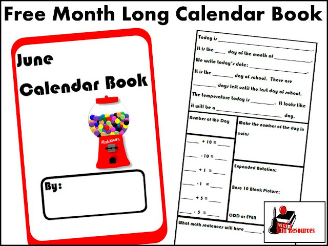 Free Calendar Book for the Month of June - Great for spiral number sense review and calendar concepts.