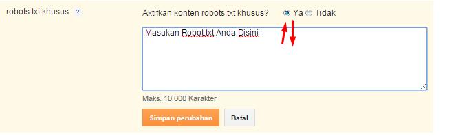 Cara Setting Robot.txt Di Blogger