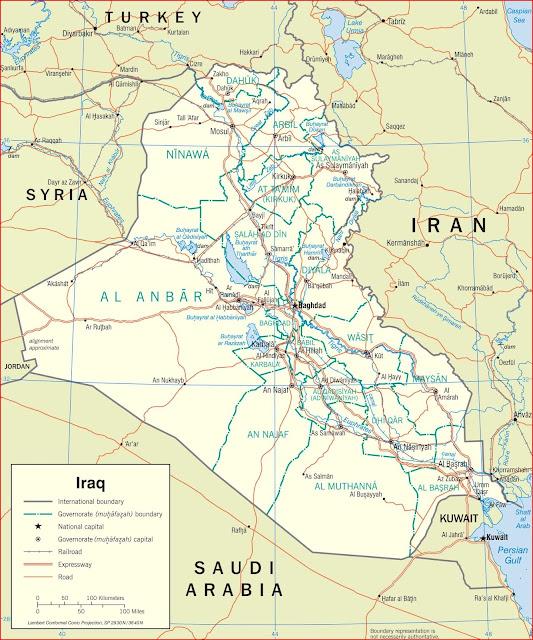 Gambar Peta politik Iraq