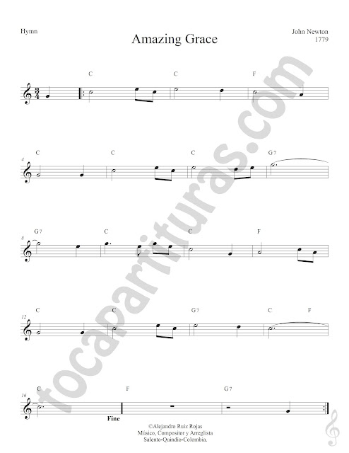 Amazing Grace de John Newton Partitura con Acordes Sheet Music for Treble Clef Chords