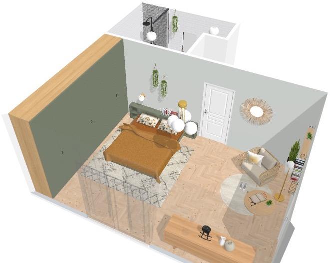 ilaria fatone_home by me_vue general 3D chambre à coucher et salle de bains