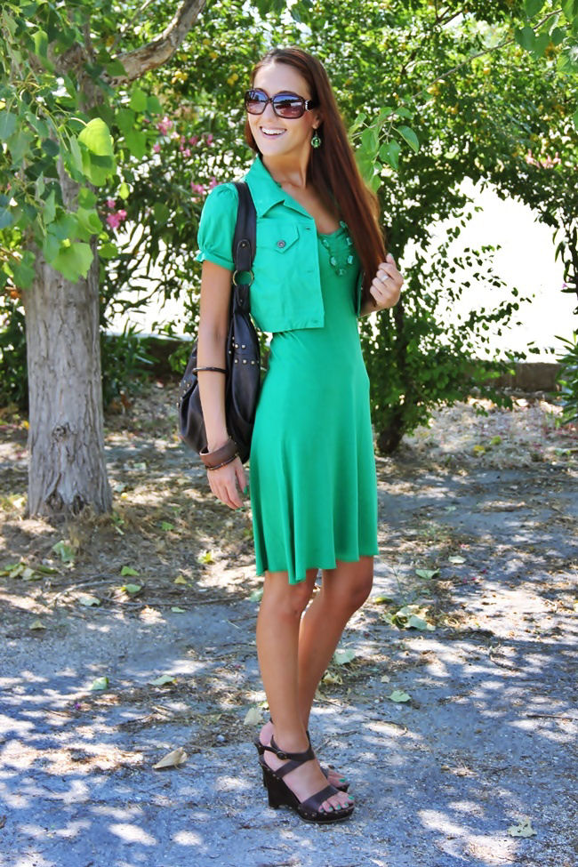 grass green dress and bolero, brown Zara wedges and brown bag