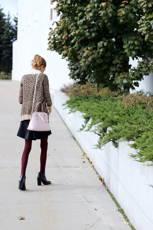 Target leopard cardigan, Rachel's Box burgundy tights, blush Kate Spade Maise