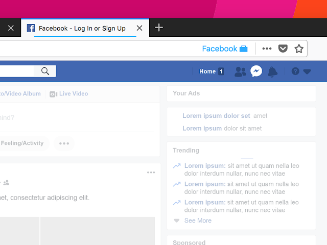"The next time you visit Facebook it will open in a new blue-colored browser tab (aka ""container tab"")"