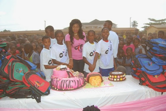 Photos: Chika Ike celebrates birthday with students in Asaba