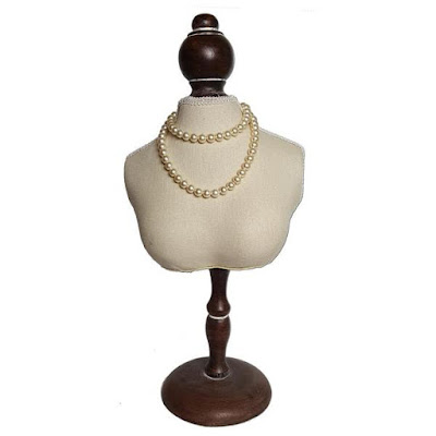 The Fabric Covered Mini Bust Necklace Display is perfect for highlighting a piece | NileCorp.com