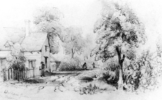 Drawing of Old Betty Pollards Corner, Welham Green, c 1850