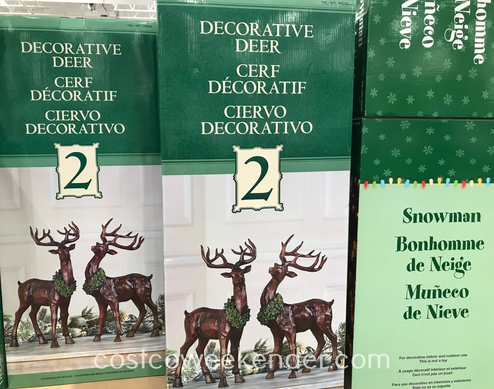 Display these Decorative Carved Wood Look Deer at your home for Christmas