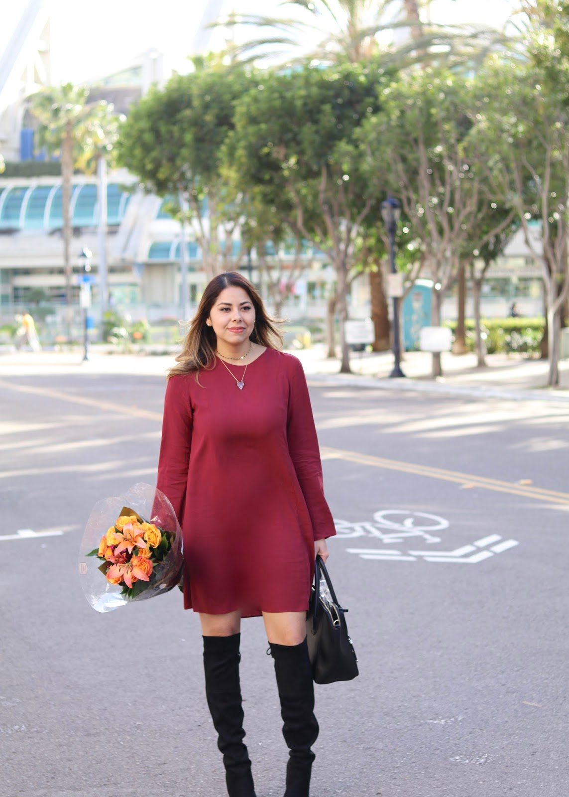 San Diego Fashion Blogger, burgundy dress with over the knee boots, top san diego fashion blogger