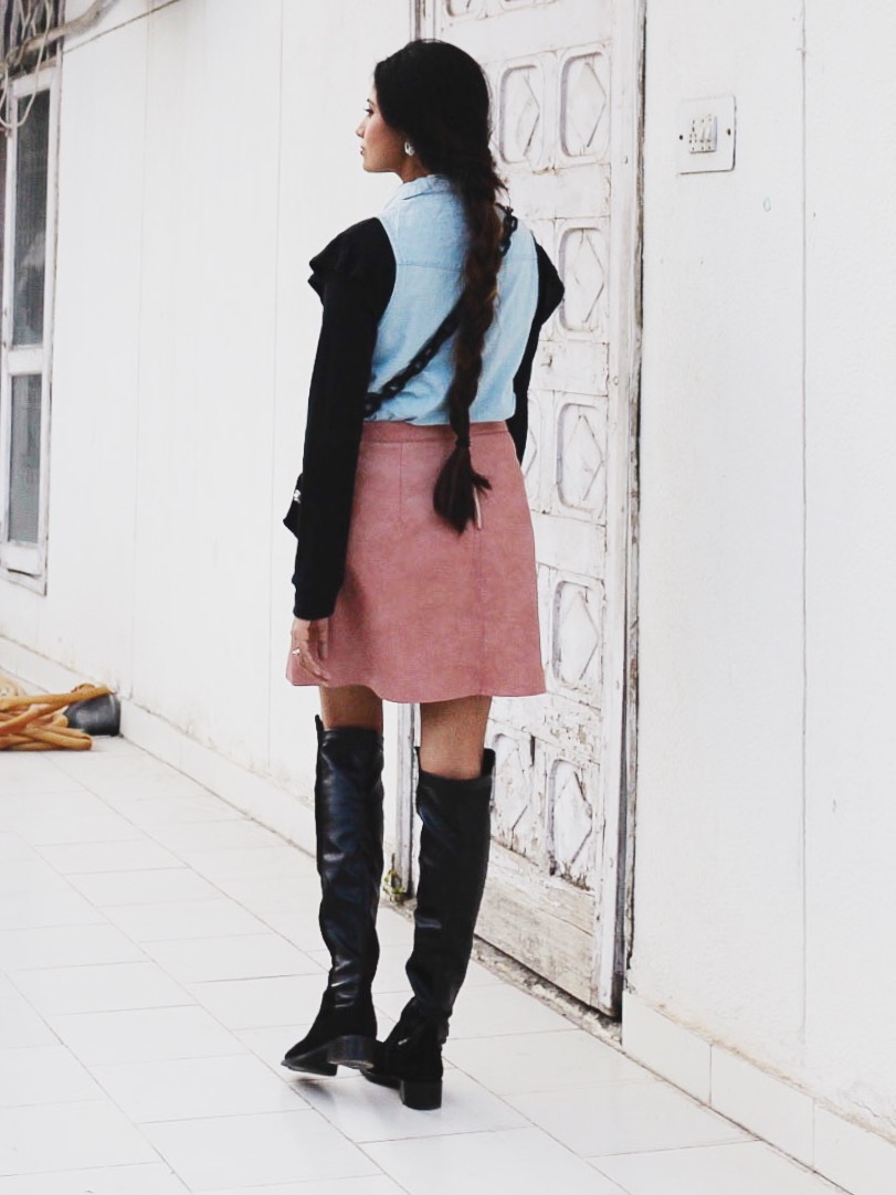 otk boots, styling otk boots, pastels with black, pantone colors 2016, edgy, brunette, top indian blogger, uk blog, london blog, 2016 street style, blogger outfit, fresh layering, fall fashion, autumn fashion, fall styling, autumn lookbook, 2016 fresh outfit idea, minimal chic, parisian chic, parisian look, european fashion, 2016 london street style, 2016 uk street style, indian street style, layers and lipstick linkup, new york outfit, modern girl outfit, pale pink and pale blue, cold weather essential, berry lips, style sleeveless shirt, style leather skirt, weekend outfit, city girl outfit
