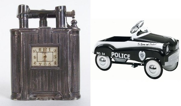 Pawn Stars - Dunhill clock lighter, police pedal toy car