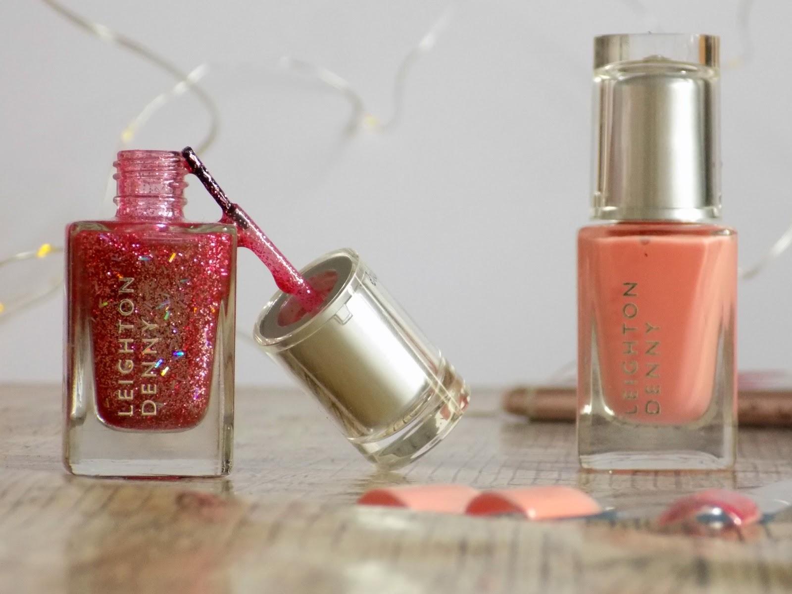 Leighton Denny Apricot blush & Strike a Pose nail polish review