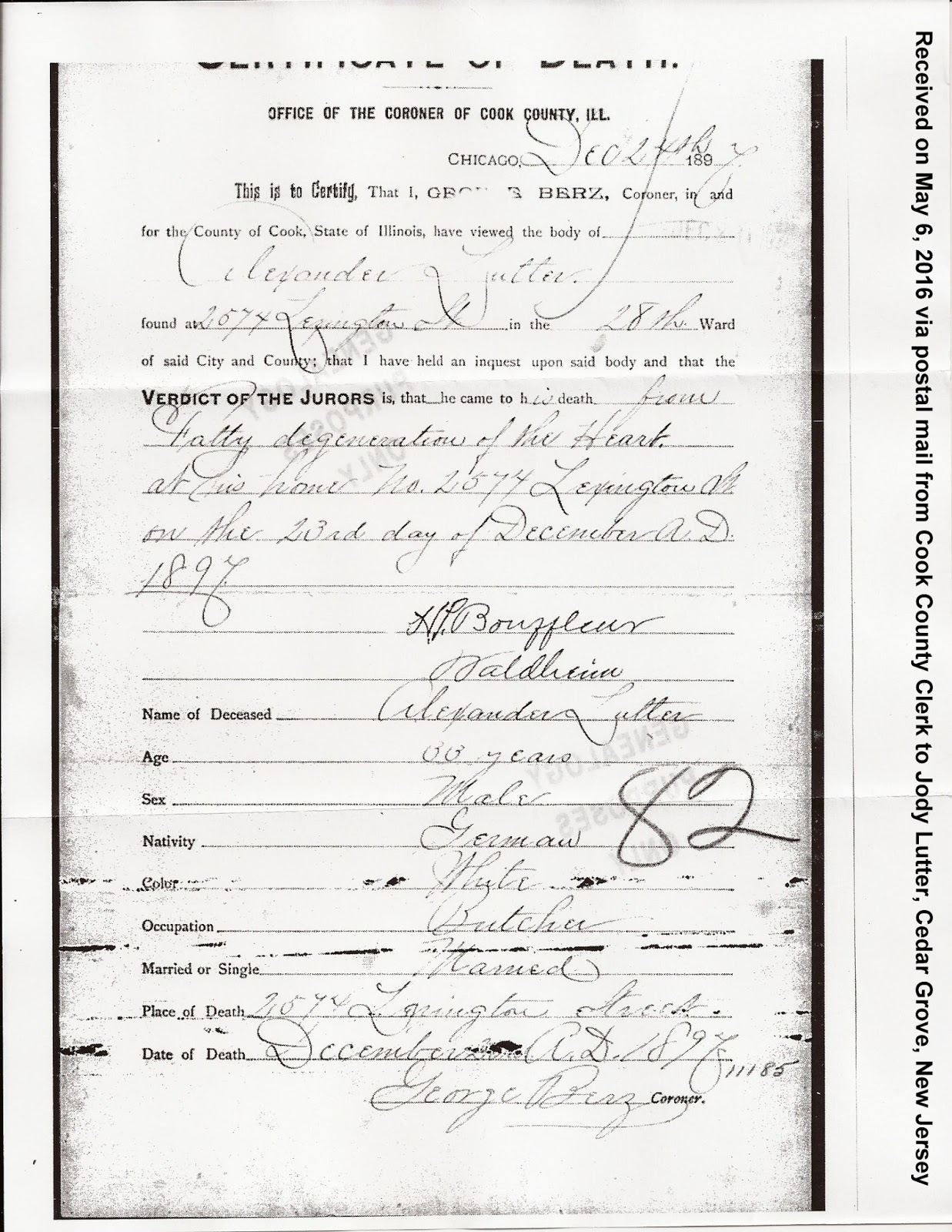 Family history research by jody death certificate not enough i obtained the date of death from a local newspaper but the cook county archives were initially unable to locate a certificate 1betcityfo Image collections