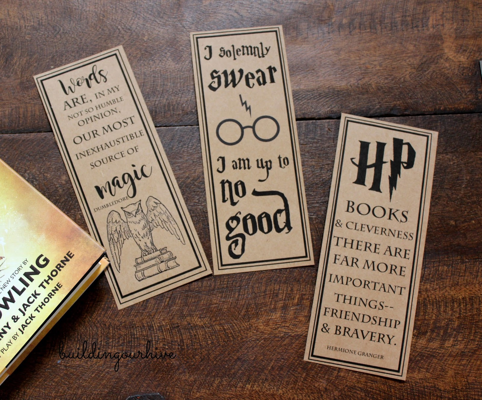 photograph about Printable Harry Potter Bookmarks named Planning Our Hive: Harry Potter Bookmarks, Bag and Prices