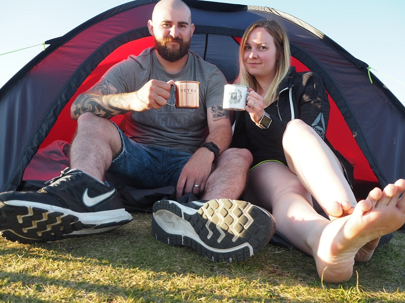 In our tent, camping on the North Coast 500 route