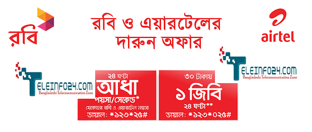 Robi and Airtel 1GB and specail call rate offer 0.5 paisa call rate