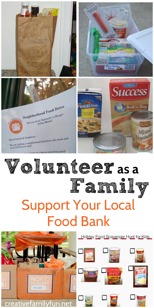 Volunteer together as a family to support your local food bank. Here are some ideas to get you started.
