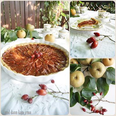Backen, Blumenschmuck, Erntedankfest, Erntedankumzug, Hagebutten, Hagebutten-Apfel Pie, Kumoi, Nähblogger-Themenwoche Laubgeflüster, Rezept, Vanillesoße