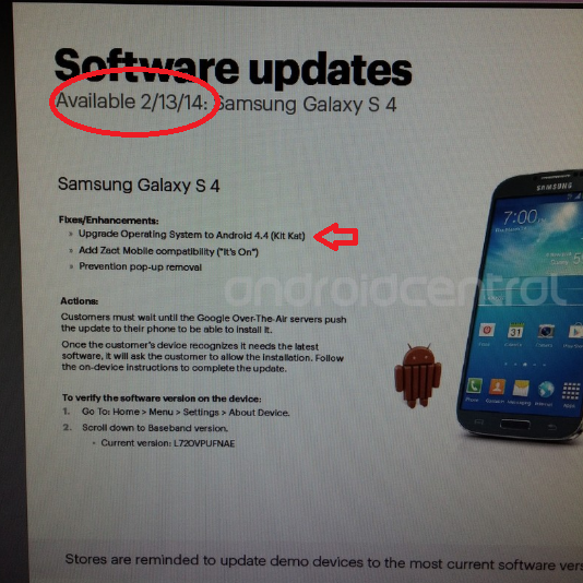 Samsung Galaxy S4 for Sprint may receive Android 4.4 KitKat starting tomorrow