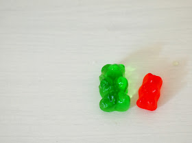 place gummy bears in liquid and grow them