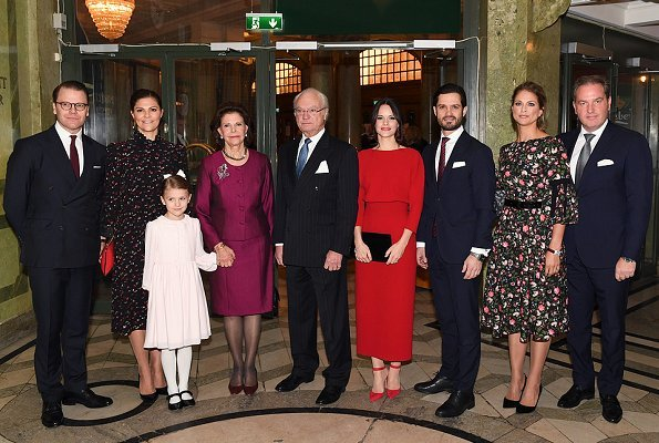 Princess Madeleine wore Erdem Aleena floral matelassé dress. Crown Princess Victoria, Princess Estelle, Prince Carl Philip, Princess Sofia