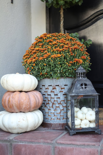 fall home tour porch mums vintage olive bucket pumpkins lantern