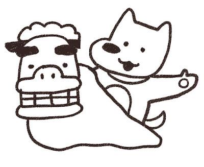 獅子舞と犬のイラスト(戌年)白黒線画