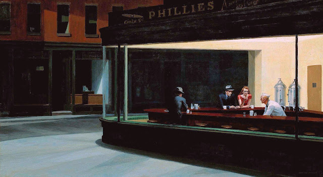 Edward Hopper diner painting 1942, night diner