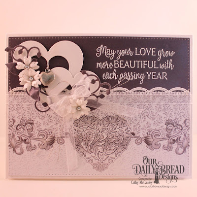 Our Daily Bread Designs Stamp Set: Happily Ever After, Paper Collection: Wedding Wishes, Custom Dies: Pierced Rectangles, Layering Hearts, Beautiful Borders, Bitty Blossoms, Leaves and Branches